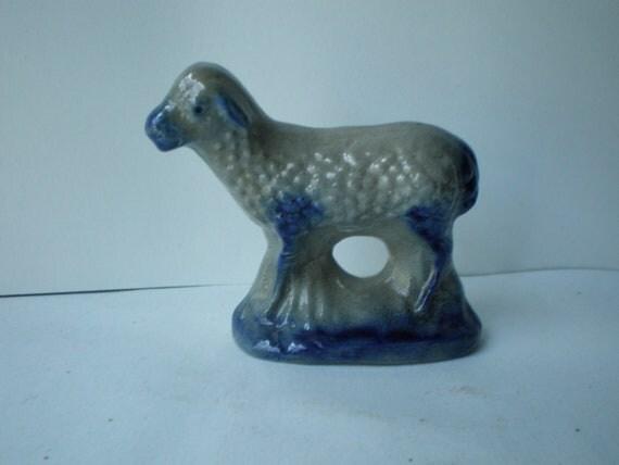 Vintage Salt Glazed Lamb Figure