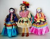 International  Souvenir Rag Dolls--Set of 3--Colorful--10 1/2 inches tall