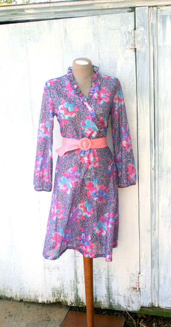 TEN DOLLARS//// 1960s PINK Floral Polka Dots Sheer Dress....size medium to large.....retro. 60s dress. floral. women. mod. flowers