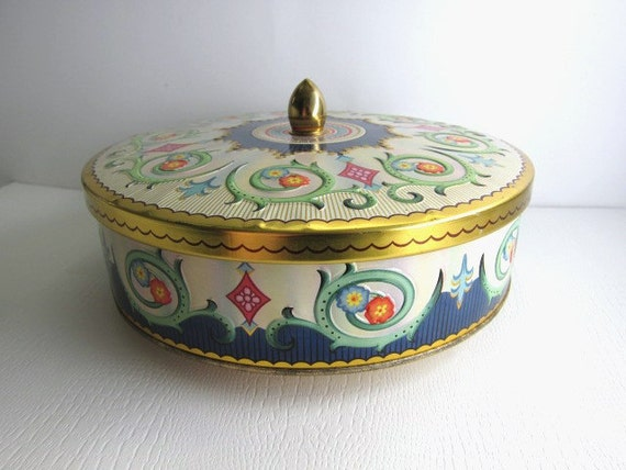 Lovely Colorful Vintage Tin, England