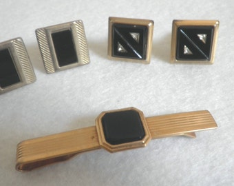 Men s Black Glass Cuff Links and Tie Clasp
