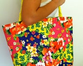Bright Hawaiian Summer Tote with Braided Strap