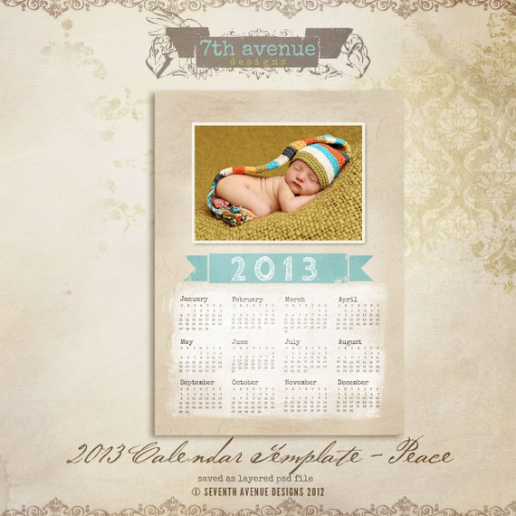 2013 Calendar Template - Peace 5x7 inch  -- available as 8x10 inch too