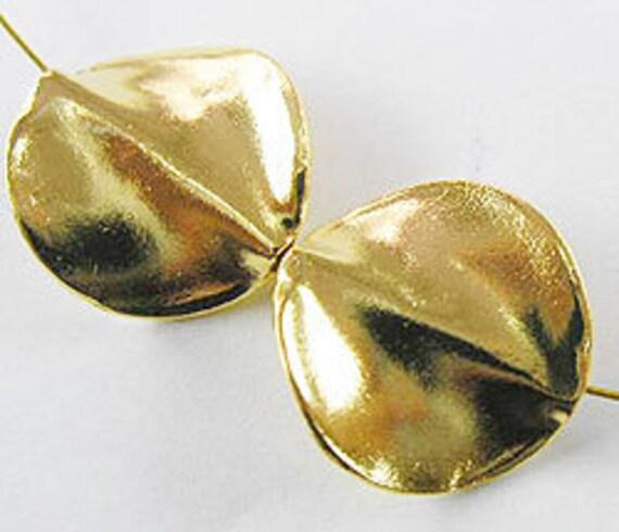 2 of Vermeil Style Twist Disc Beads 17 mm. :vm0197