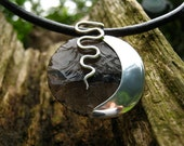 New Moon Pendant - Knapped obsidian and sterling silver necklace