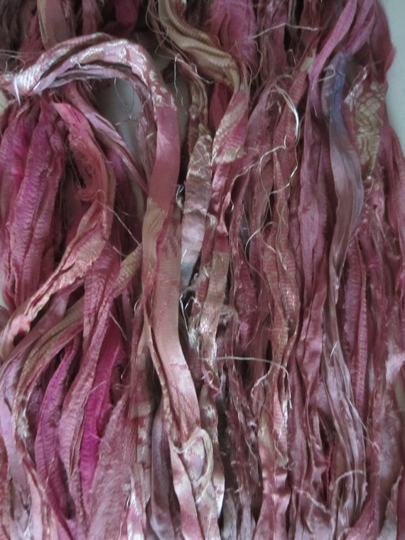 Reserved for DEB Skein Sari Silk Ribbon PINKS and MAUVES with Tapestry Number 127