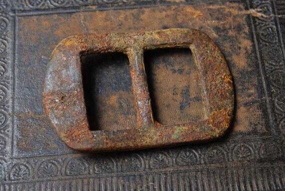 Antique brass  belt buckle , dark patina