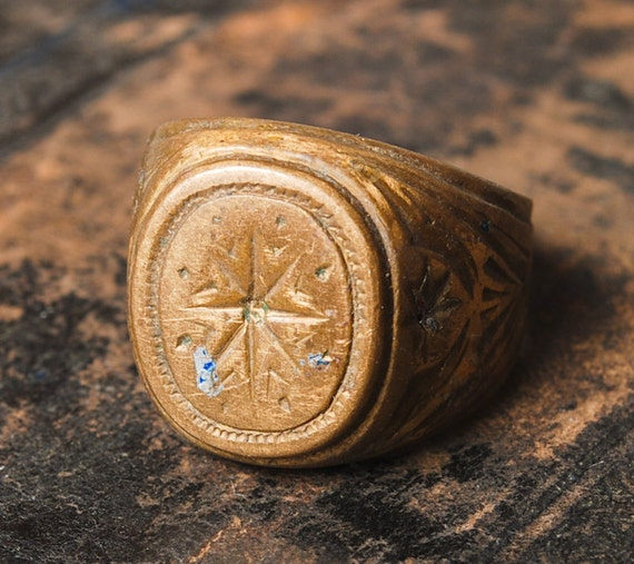 Antique brass man ring. Size 9