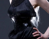 """S PVC angled Corset belt 23""""for 26-27 waist Black patent from Artifice Clothing with steel boning (sample ready to ship)"""