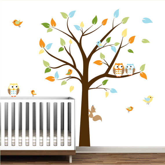 Kids wall decals Baby decals nursery decals Tree with animals decals birds owls tree decals mural wall stickers-01