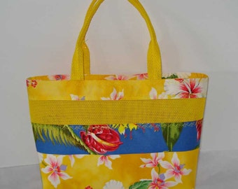 Mesh Tote Bag or Purse with Colorful Hawaiian Cotton Fabric and Yellow Pet Screen