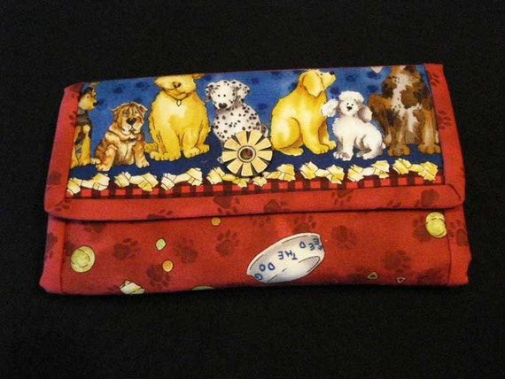 Novelty Dog Print Womens Clutch Wallet in Reds and Blues