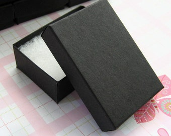 Matte Black Cotton Filled Jewelry Boxes High Quality 3 1/8 x 2 1/4 x 1 inch - 10 Medium