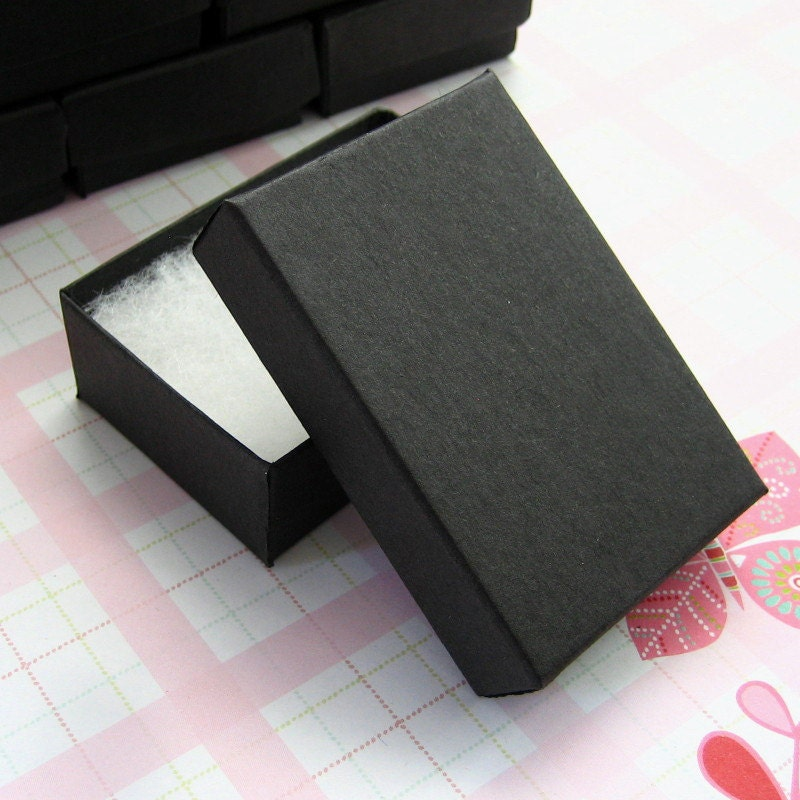 Matte black cotton filled jewelry boxes high quality 3 1 8 for Black box container studios