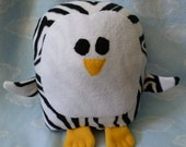 Plush Zebra Print Penguin Pillow Pal, Baby Safe, Machine Washable