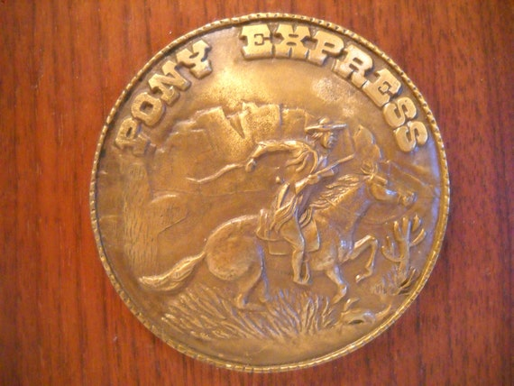 Vintage Pony express Wall Plaque/Pony Express Brass And Wood Wall Hanging/Wood Plaque
