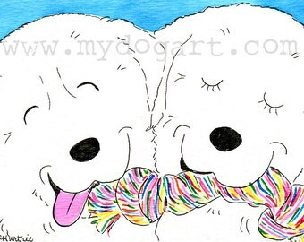 Whimsical Great Pyrenees  print 5x7