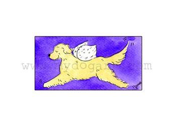 Whimsical Golden Retriever Angel print 5x7