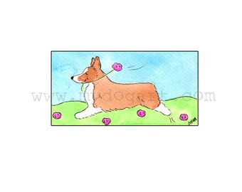 Whimsical Pembroke Welsh Corgi print 5x7