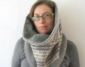 Snood Scarf - Gray Infinity Scarf // Capelet  - Fair Isle : Upcycled Recycled Repurposed Fall Fashion