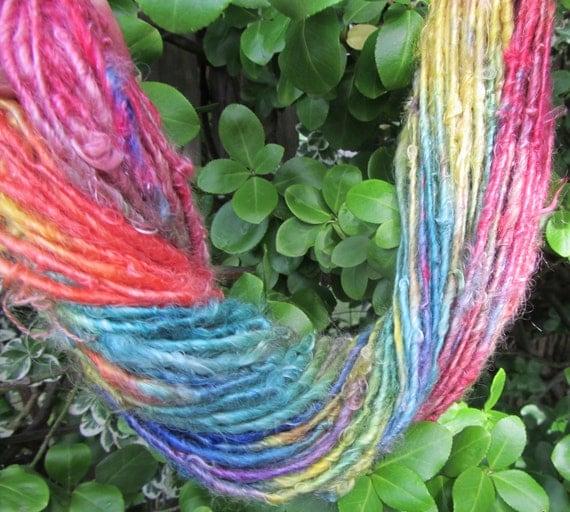 Handspun Suri Alpaca Hand Painted Rainbow