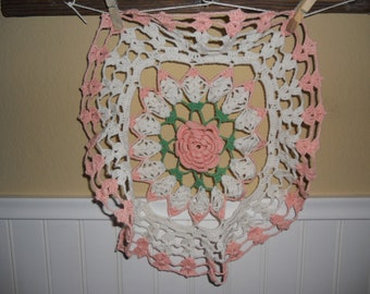 Vintage Crocheted Peach Doilies