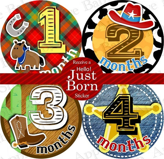 Baby Monthly Stickers FREE Baby Month Milestone Sticker Baby Month Stickers Baby Bodysuit Stickers Photo Props Baby Boy Cowboy Bots 051B