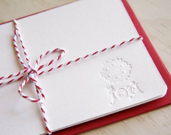 Doily Peace Joy Hope - Letterpress Christmas note cards x3