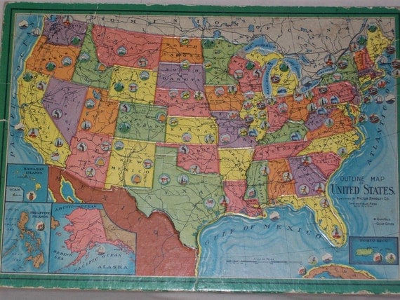 Bradley (IL) United States  city photos : Vintage United States MAP PUZZLE 1960s Milton by HoosierPickers