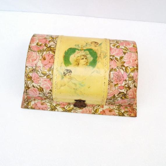 Antique Keepsake Box, Victorian Boxes, Celluloid Dresser Box, Vanity Set - Pink - Yellow - Girls Gift