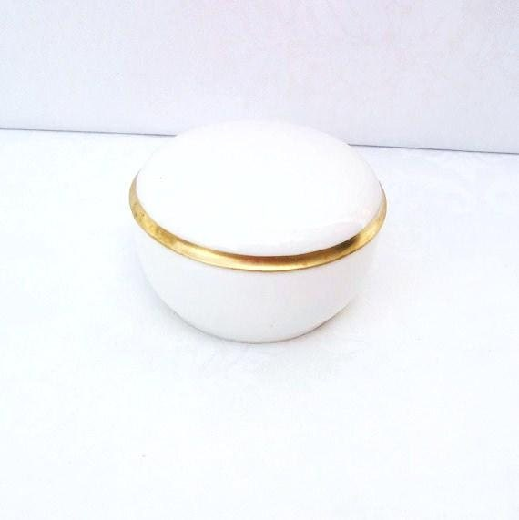 Vintage German Dresser Box  Porcelain Box  German Porcelain  Trinket Box  White Porcelain Vanity Box