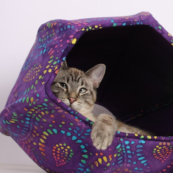 The cat ball a hand made kitty cozy cave bed and play fort in - Bed made of balls ...