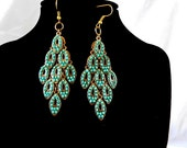 Gorgeous Gold and Turquoise Layered Diamond Earrings