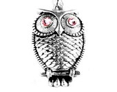 Christmas Gift - Holiday Gift -  Swarovski Rose Pink Crystal Silver Owl Charm Necklace (Get 12% OFF with COUPON CODE for Special Sale)