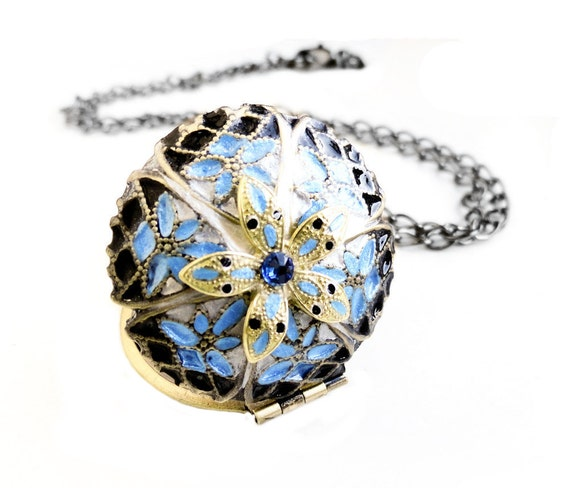 Christrmas gift - Handpainted Locket, Personalized Locket, Swarovski Crystal Filigree Picture Locket Gunmetal Necklace (Get 12% OFF)