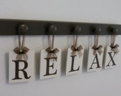 RELAX Sign Wall Words Personalized Hanging Letters Includes Wooden Hangers in Chocolate Brown | Home Entryway Room Decor