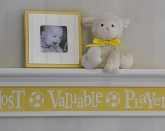 "Soccer Ball Sport Wall Decor Yellow Baby Nursery Wall Decor Sign - Most Valuable Player -  Sign on 30"" White or Linen (Off White) Shelf"