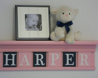 Pastel Pink and Navy Baby Gifts - Baby Girl Nursery Wall Decor - Light Pink Shelf with Navy Blue and Light Pink Wooden Letters