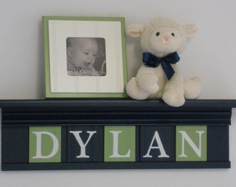 navy and orange nursery decor baby boy gift personalized. Black Bedroom Furniture Sets. Home Design Ideas