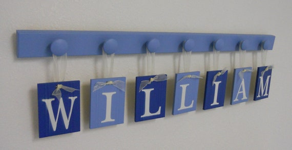 Baby Boy Name Sign Includes Personalized Alphabet Wall letters and 7 Wooden Peg Board Painted Blue and Light Blue. Custom Order for WILLIAM