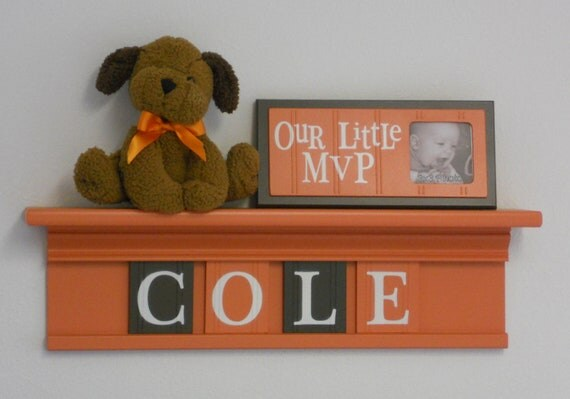 """Tangerine and Brown Baby Nursery Decor - COLE - 24"""" Orange Shelf and 4 Wooden Wall Letters"""