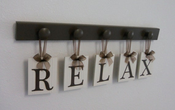 RELAX Sign Wall Words Personalized Hanging Letters Includes Wooden