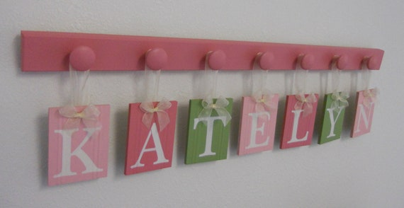 Gift for Baby Girl - Baby Name Wall Hanging Sign KATELYN and 7 Wooden Pegs Painted Pinks, Light Green