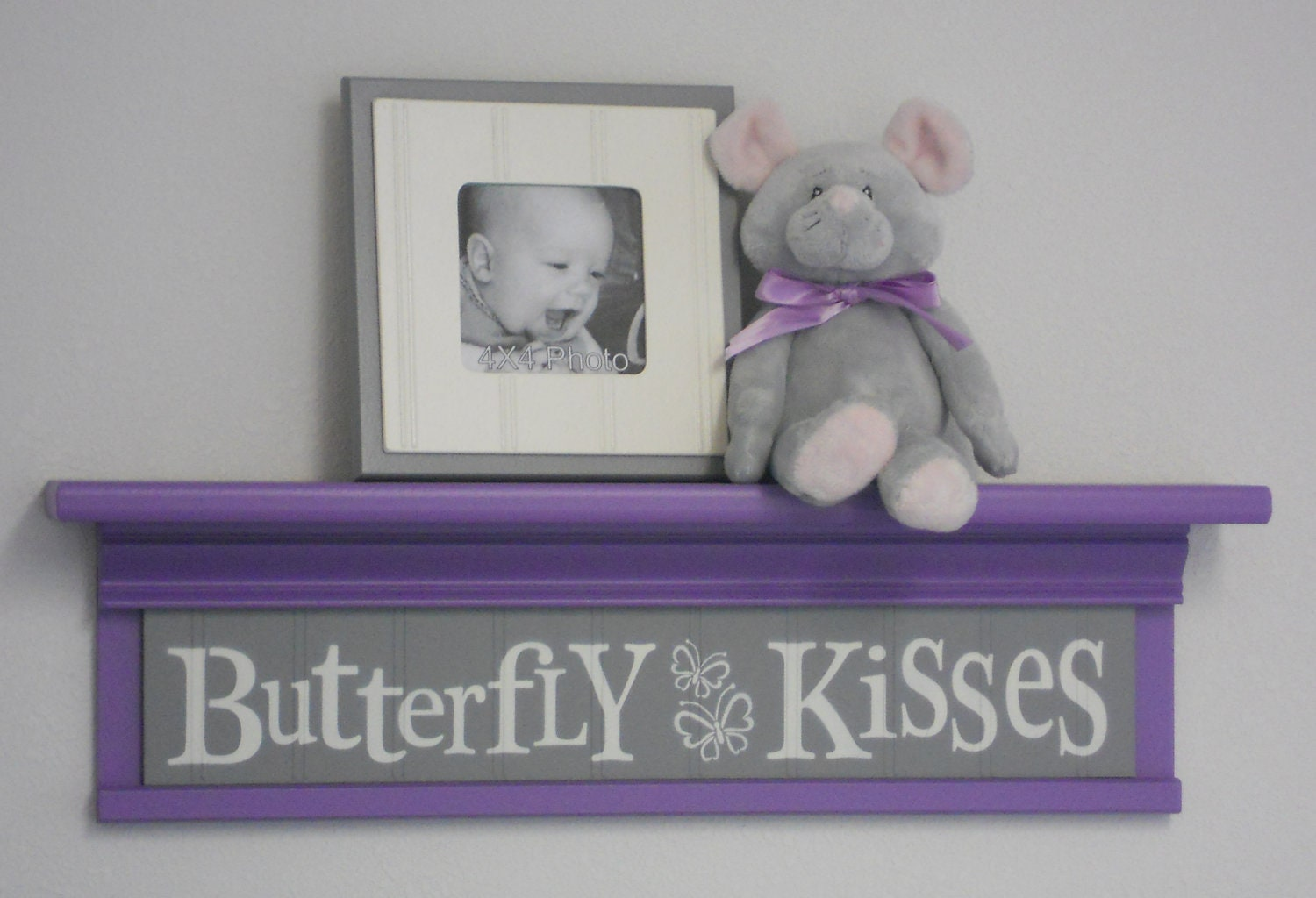 Butterfly Kisses Wall Shelf Purple And Gray Nursery