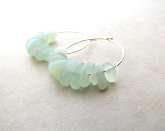 Sea Glass Seaglass Earrings Hoops Seafoam Grey Jade Mint  BellinaCreations Bellina Creation