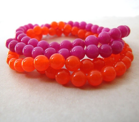 Fluorescent Neon Bracelet Necklace Candy Jade Gemstone Orange Hot Pink Eighties Retro