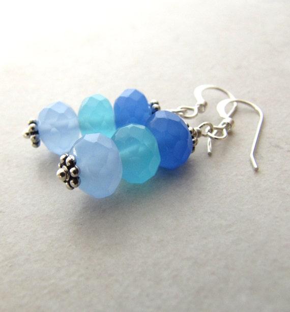 Chalcedony Earrings, Gemstone Earrings, Quartz Earrings, Ocean Earrings, Seaglass Colors, Mermaid Earrings, Crystal Earrings, Beach Earrings