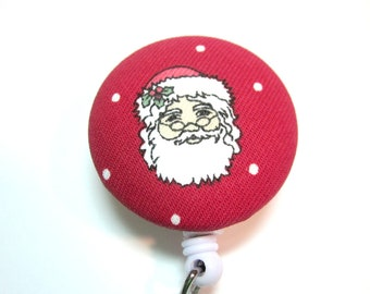 Christmas, Santa Clause ID Holder Badge Reel Covered Button