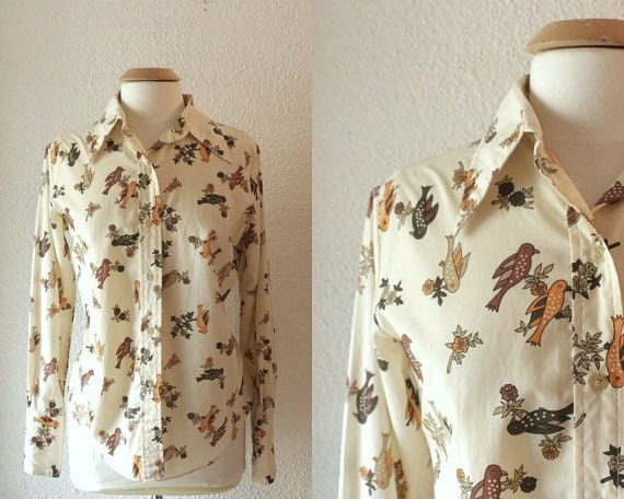 60s  Birds and Flowers Blouse Size L