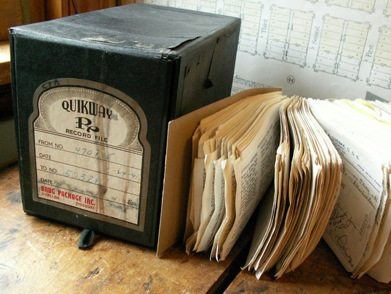 Vintage Quikway Pharmacy Prescription Box full of old scripts